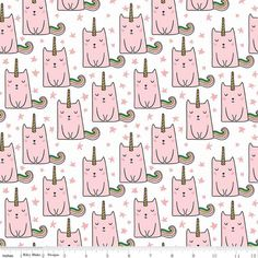 100/% Cotton Per FQ OR Half Metre by Blend Pink//Blue Calliope Unicorn Fabric
