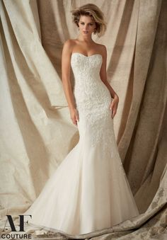 Bridal Gowns 1322 Soutache Embroidered Appliques with Crystal Beading on Net