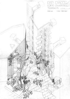 Edificio Social Housing in Barcelona / Flores & Prats Architects Paper Architecture, Architecture Drawings, Urban Architecture, Architecture Photo, Alvar Aalto, Masterplan, Axonometric Drawing, Social Housing, Planer