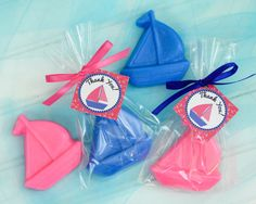 BOAT SOAP FAVORS (10 Favors) - Nautical themed Birthday, Sail Boat Soaps, Nautical Baby Shower, Navy Blue Hot Pink, Wedding Soap Favors