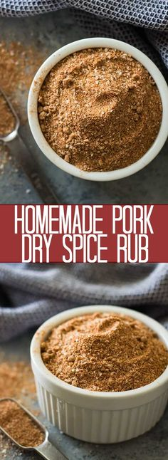 Homemade Pork Dry Spice Rub is the perfect balance of sweet and spicy, it also goes great on chicken and is perfect for grilling! Rub For Pork Ribs, Pork Dry Rubs, Bbq Dry Rub, Meat Rubs, Bbq Ribs, Pork Chop Dry Rub, Spice Rub For Ribs, Rub For Pork Tenderloin, Grilled Pork Chops Rub