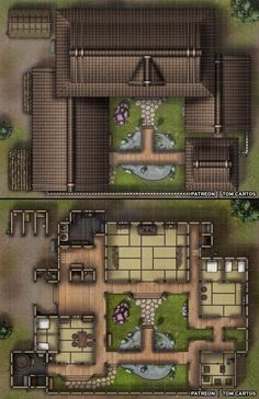 Iido Samurai House - Feudal Japan Inspired Noble's Home - battlemaps Dungeons And Dragons Homebrew, D&d Dungeons And Dragons, Fantasy Map, Fantasy Places, Pathfinder Maps, Call Of Cthulhu Rpg, Building Map, Traditional Japanese House, Dungeon Maps