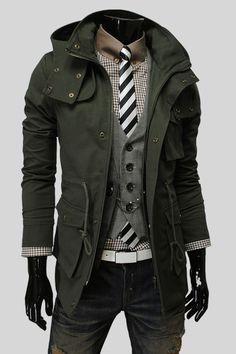 Dark olive green trench coat. The color works with the black and white shirt/vest/tie combo here. Nice.