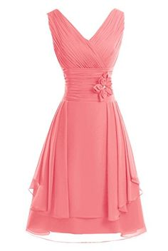 Looking for the perfect Kama Bridal V-Neck Knee-Length A-Line Chiffon Floral Bridesmaid Party Dress Watermelon? Please click and view this most popular Kama Bridal V-Neck Knee-Length A-Line Chiffon Floral Bridesmaid Party Dress Watermelon. Types Of Dresses, Short Dresses, Prom Dresses, Formal Dresses, Prom Dress Shopping, Floral Chiffon, Chiffon Dress, Elegant Outfit, Beautiful Gowns