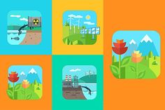 """Urban and village landscape. Ecology Graphics Urban and village landscape. Ecology, environment.**Full collection """"Ecology""""** - https://creati by Krol"""