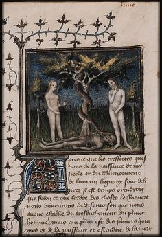 The fall of man: Adam and Eve eat from the Tree of Knowledge of Good and Evil