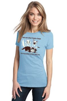 CATS = POTATO CHIPS: IMPOSSIBLE TO HAVE JUST ONE! Ladies T-shirt / Cat Lover Tee for Cat-ficienados. Perfect for lazy Caturdays :)