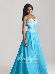 blue tulle beaded sweetheart strapless ball gown floor length lace-up back prom dress