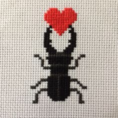 Love Bug - Stag Beetle Cross Stitch Pattern