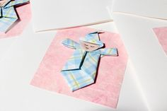 Origami Baby Notecards  Blue on Pink by TiliaBoutique on Etsy. , via Etsy.