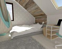 Pokój dla nastolatki na poddaszu - Duży pokój dziecka dla dziewczynki dla ucznia dla nastolatka, styl skandynawski - zdjęcie od Am Design Studio projektowania wnętrz