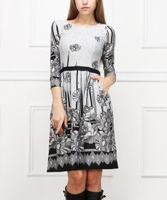 Look what I found on #zulily! White & Black Floral Pleated Dress #zulilyfinds