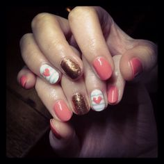 Coral sailor stripe heart holiday nails. Gelish. Red carpet manicures