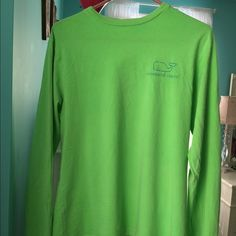Vineyard Vines Long Sleeve VV Neon Green Vinage Whale Long Sleeve.  So comfortable. Barely Worn. Vineyard Vines Tops Tees - Long Sleeve