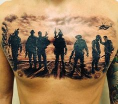 Men's Traditional Military Tattoos On Chest