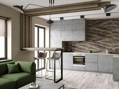 МЕТРАЖ: 35 м2  ДИЗАЙН: KONCEPTIMO Small Apartment Interior, Small Apartments, Cool Kitchens, Modern, Kitchen Decor, Sweet Home, House Design, Furniture, Home Decor