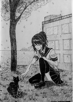 Mirai Nikki This must be the only peaceful thing Ayano has in her life - Male Yandere, Yandere Manga, Animes Yandere, Manga Anime, Diabolik Lovers, Cartoon Drawings, Art Drawings, Yendere Simulator, Anime Cosplay Costumes
