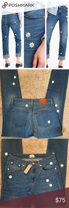 """NWT!! J. Crew Slim Broken In Boyfriend Jeans An adorable pair of slim boyfriend jeans from J. Crew! Adorned with pretty daisies, these can light up any day! Super cute rolled up at the bottom! Brand new with tags, NEVER WORN! Any questions just ask just ask!   I do consider reasonable offers! No lowballing please! I do not trade 😊  Measurements  Waist - 25"""" Rise - 9 3/4"""" Inseam - 28"""" J. Crew Jeans Boyfriend"""