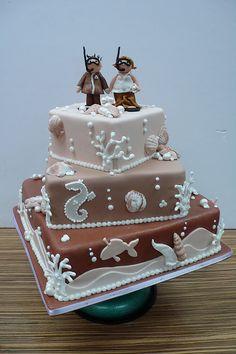 Sea Themed Wedding Cake ~ cute!