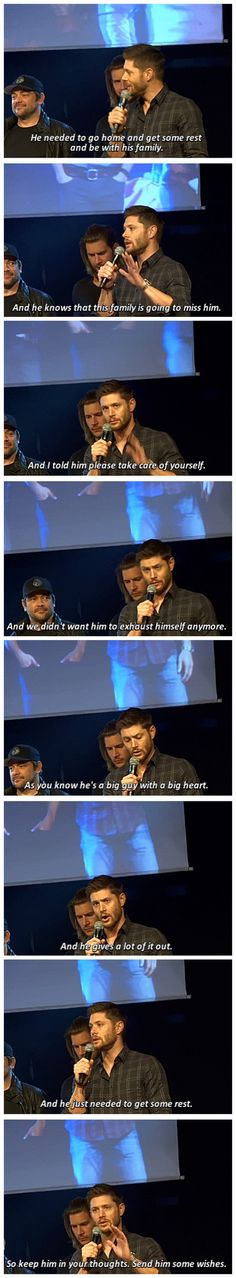 Jensen speaking about Jared's absence at the JIBCon2015 opening [gifset] #alwaysstaystrong #standingstrongforjared