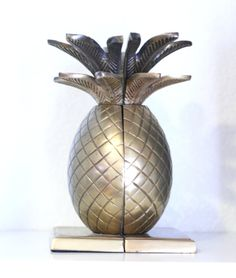 Vintage Authentic Pineapple Book Ends Decor Brass by DeeADear