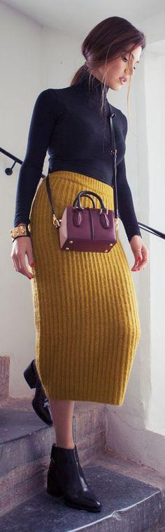 Mustard Knit Mid Calf Skirt by Negin Mirsalehi