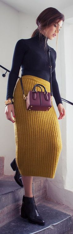 Mustard Knit Mid Calf Skirt by Negin Mirsalehi