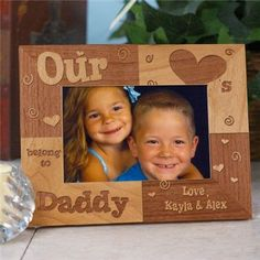 Engraved Our Hearts Belong to Daddy Gramps Grandpa Any Title Wood Photo Frame My Heart Uncle Father's Day Picture Frame by PreppyPinkies on Etsy
