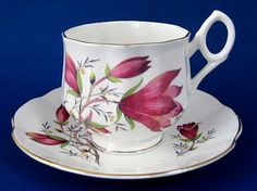 Rosina Cup and Saucer Burgundy Crocus Flowers Bone China