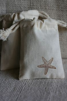 muslin gift bags StAr FiSh x10, wedding muslin favor bag, baby shower favor, goody bag for baked goods,soaps,candies