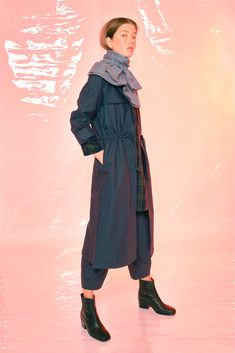 #Design # Alpha60 #Alpha60 Fashion Fashion Labels, Fashion Boutique, Cotton Canvas, Trench, Duster Coat, Navy, Sleeves, Model, How To Wear