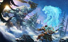 Fantasy Warrior and Monster Wallpaper