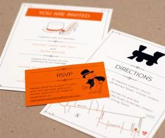 Monopoly Wedding stationery!!!!  I'm not getting married, but it would be a great party invite too!