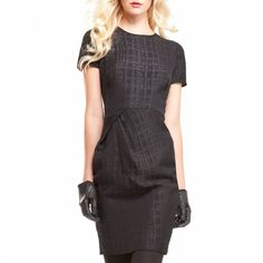 Reflections of Breakfast at Tiffanys:  this is a lady like LBD with some edgeThe silhouette is a modern take on the shift, with its short sleeves, fitted body and delicate fold at the waist which adds a subtle touch of volumeThe cloque technique of weaving creates a black on black pattern that is a must for the zoom featureColour: BlackComposition: 66% Polyester, 34% RayonCare: Machine washableSize guide as follows in inches:XS: UK Size 6, chest 33, waist 26, hips 36S: UK Size 8, bust 34…