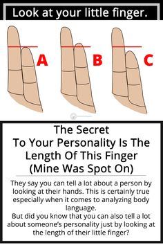 The Secret To Your Personality Is The Length Of This Finger (Mine Was Spot On) Body Language Hands, Reading Body Language, Psychology Fun Facts, Positive Psychology, True Colors Personality, Palmistry Reading, Loyal Person, Face Reading, How To Read People