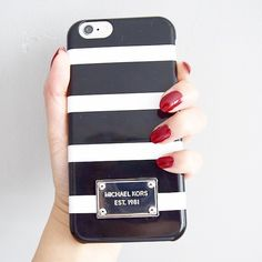 Michael Kors iphone6 case ~ black and white stripes, love it!