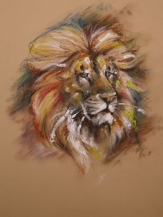 Image detail for -LION oil pastel by ~Repaul on deviantART !!! Absolute perfection!! Lions are handsome !  The artwork is outstanding.