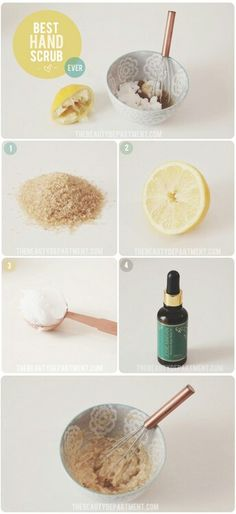 DIY hand scrub don't leave it on so long your hands will be soft like a baby