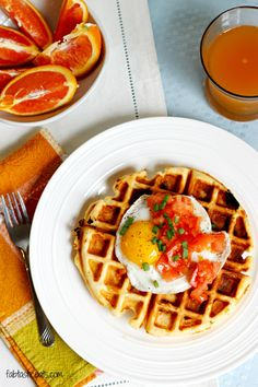 Cheddar Cornmeal Waffles with Eggs | Fabtastic Eats