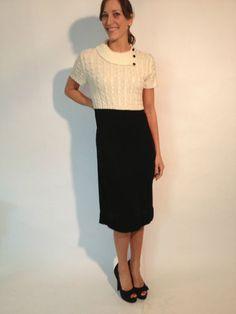 Tahari by Arthur S Levine Short Sleeve Sweater Dress, Black & Ivory, Size S $47.99 | eBay www.darlingdiscounts.com