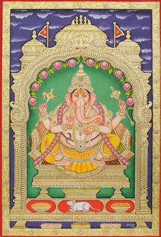Bhagawan Ganesha, Tanjore Painting on Board, Traditional Colors with 24 Karat Gold, Artist Hemlata Kumawat