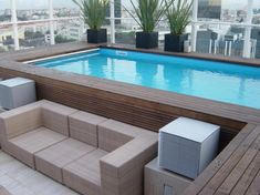 Soleo Skimmer: Piscinas por Soleo - Another! Above Ground Pool Landscaping, Small Backyard Pools, Backyard Pool Designs, Small Pools, Backyard Patio, Swimming Pools Backyard, Swimming Pool Designs, Lap Pools, Pool Decks