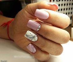 Unhas de gel rosa claro com desenhos e brilhantes   Dicas Femininas