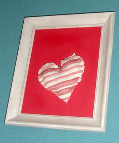 Cute Red/Pink Heart in Frame by JsFourLeaf on Etsy