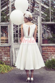 beaded ivory organza A line tea length rustic wedding dress 2
