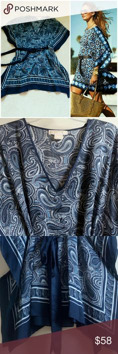 MICHAEL Michael Kors Belted Print Scarf Dress 100% pure silk! In perfect condition, only had been worn once. Gorgeous color and print and flows beautifully! MICHAEL Michael Kors Dresses Mini