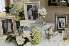 I would like to have a table for the guest book that would include photos of the weddings of our parents and grandparents.  I would like a mason jar with flowers to decorate this table or a bouquet of baby's breath.
