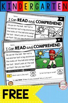 Kindergarten Reading Activities, Kindergarten Freebies, Reading Comprehension Activities, Reading Passages, Teaching Reading, Free Reading, Comprehension Questions, First Grade Freebies, Montessori Kindergarten