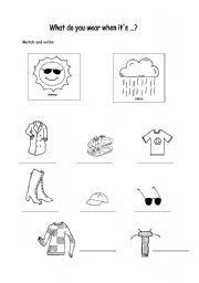 Winter Weather Wear Preschool Worksheet