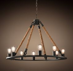 Rope Filament Round Chandelier Large from Restoration Hardware. Shop more products from Restoration Hardware on Wanelo. Foyer Chandelier, Industrial Chandelier, Wagon Wheel Chandelier, Chandelier Ideas, Outdoor Chandelier, Rustic Industrial, Industrial Design, Room Lights, Ceiling Lights